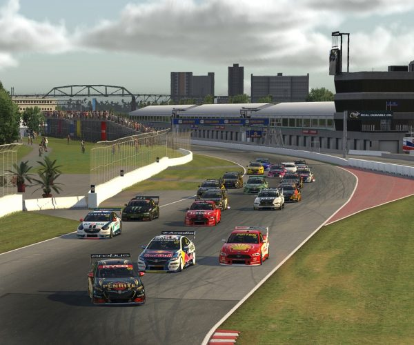 MELBOURNE, AUSTRALIA - APRIL 29: (EDITORIAL USE ONLY) (Editors note: This image was computer generated in-game) Anton de Pasquale drives the #99 Penrite Racing Holden Commodore ZB leads at the start during round 4 of the Supercars All Stars Eseries at Watkins Glen on April 29, 2020 in Various Cities, Australia. (Photo by Clive Rose/Getty Images)